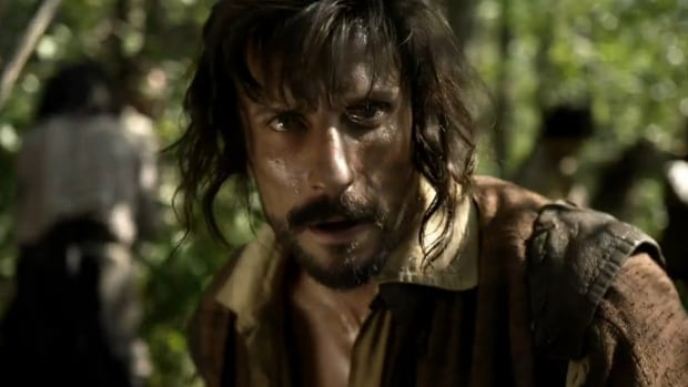 Samuel de Champlain as depicted in Canada: The Story of Us. The public broadcaster has apologized to those who 'felt misrepresented' by the new miniseries, but won't be updating or correcting any of the episodes.