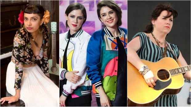 In recent years, artists such as (from left) Alysha Brilla, Tegan and Sara Quin and Amy Millan have all raised awareness about the lack of female nominees at the Juno Awards.