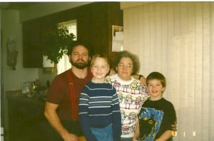 Ray Purdy with his late mother, Thora, and sons Brett and Mike