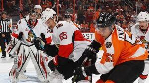 Senators' Karlsson out with injury after blocking shot