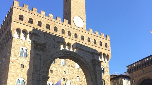 A copy of the Arch of Palmyra stands in Florence's Piazza Signoria. Cultural ministers from Britain, Canada, France, Germany, Italy, Japan and the U.S. called for countries to fight the looting and trafficking of cultural property, especially in areas of conflict, where little has been done so far.