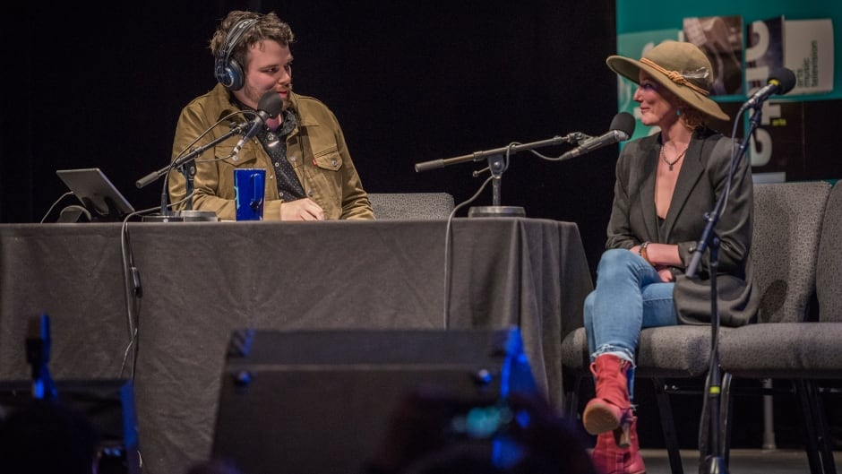 Musician Kathleen Edwards and Tom Power discussing her Ottawa block party live at the Bronson Centre Theatre.
