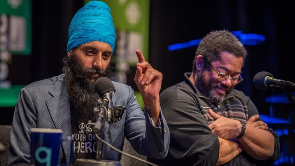 Humble the Poet and André Alexis speaking to Tom Power live at the Bronson Centre Theatre in Ottawa, Ont.