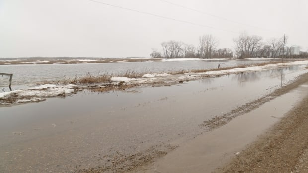 Overland flooding in the Rural Municipality of Two Borders, southwest of Pipestone, Man., Friday afternoon.