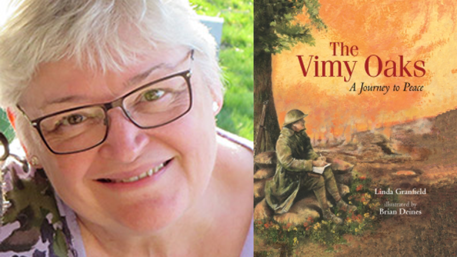 Linda Granfield has written a picture book based on the true story of Leslie Miller, a Canadian soldier who mailed a handful of acorns home from the front lines of Vimy Ridge.