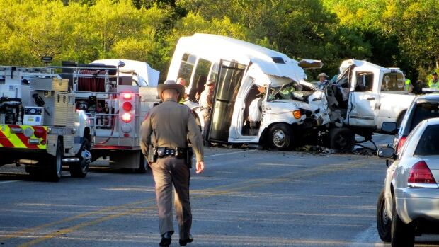 Wednesday's deadly crash involved a minibus carrying church members and a pickup truck on a highway in Uvalde County, Texas.