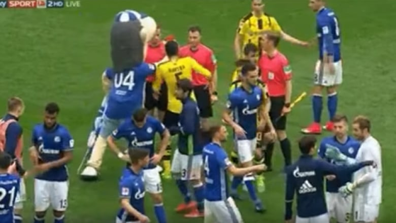 Soccer Mascot Has Funny Way Of Showing Dislike For Referee S Decision Cbc Sports