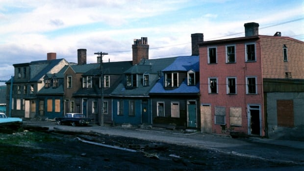 A row of houses on Star Street near Hurd Street in 1961 that were demolished for the Cogswell Interchange.