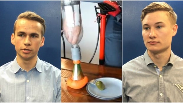 Tyler Anker, left, and Joel Neumann created a prosthetic arm out of a bike pump and a balloon filled with sugar.