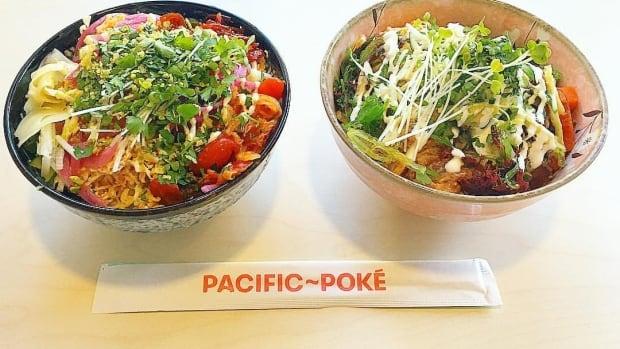 A pair of poké bowls at Pacific Poké in Vanouver.
