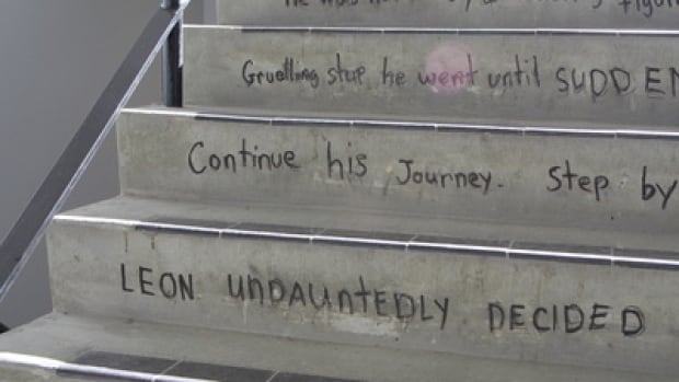 The story of Leon the Frog is written on the stairs of the Social Sciences building at the University of Calgary.