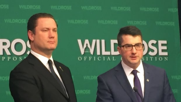 Wildrose MLAs Scott Cyr (left) and Nathan Cooper presented their plan to overhaul how the Alberta government processes freedom of information requests at a news conference on Tuesday.