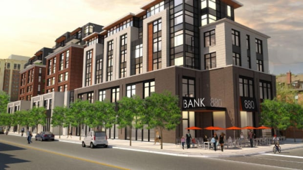A rendering of the building designed by Barry Hobin that Canderel hopes to build on Bank Street in the Glebe.