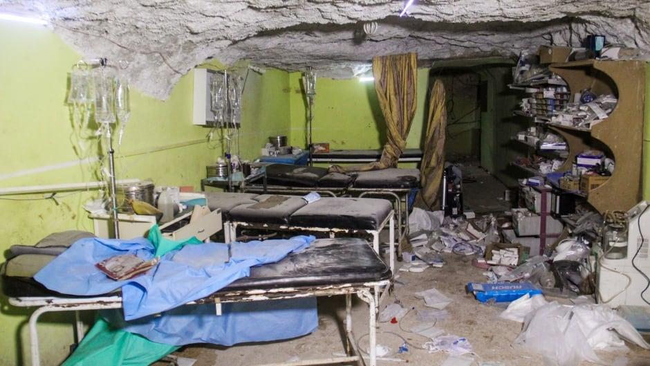 A hospital room in Khan Sheikhoun, a rebel-held town in the northwestern Syrian Idlib province, following a suspected toxic  chemical attack.