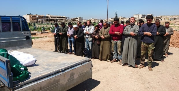 Syria funeral for victims of suspected toxic gas attack