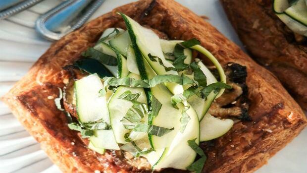 Roasted Honey Miso Eggplant Flatbread with Zucchini Salad