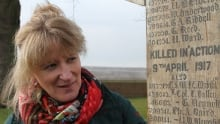 Johanne Gagne with wooden cross at Vimy, France