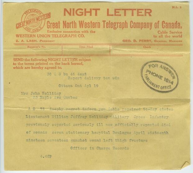 Holliday Vimy telegram