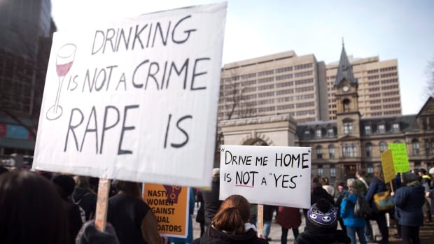 Protesters in Halifax last month react to a judge's decision to acquit a taxi driver charged with sexually assaulting an intoxicated female passenger. CBC News was granted access this week to a training course for new judges, including seminars on sex assault law.
