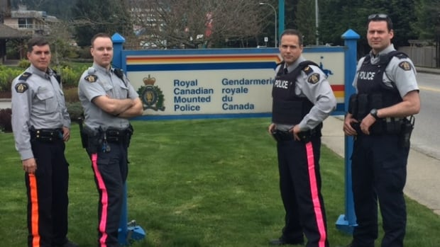 Sunshine Coast RCMP are covering their iconic yellow stripe with pink duct tape in protest of wage discrepancies across the country.