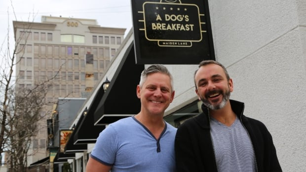 Steven Thompson and John Ansell own four businesses on Maiden Lane, including A Dog's Breakfast, which serves gourmet hot dogs, hamburgers and breakfast.