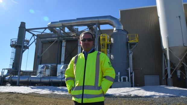 City engineer Akli Ben-Anteur stands in front of Greater Sudbury's $63 million biosolids plant that opened two years ago under the city's first public-private partnership.