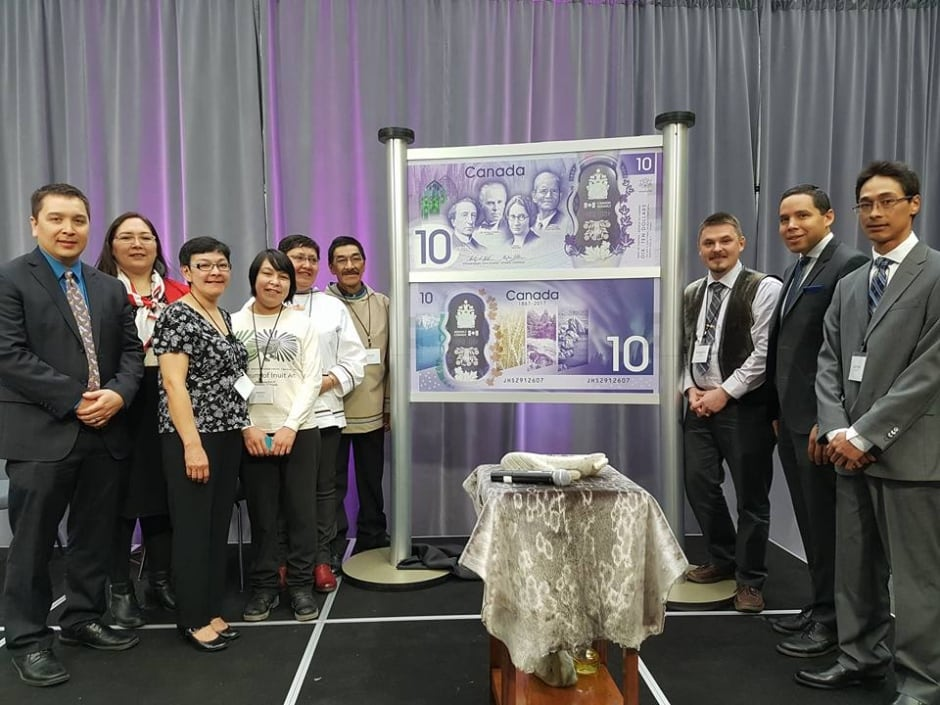 The Ashevak family at the unveiling of the Canada 150 $10 banknote