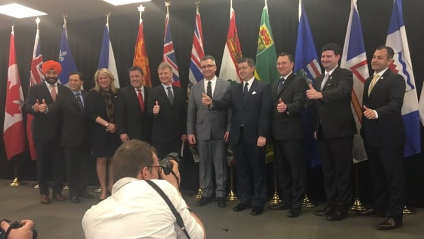 Provincial trade ministers congratulated each other for their work on the Canada Free Trade Agreement as its text was made public in Toronto Friday. Federal minister Navdeep Bains said it took all hands on deck.