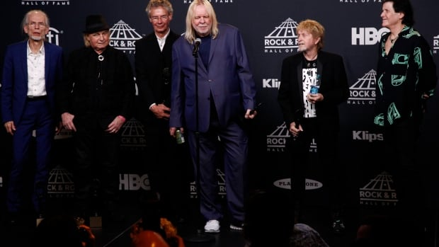 The rock stars were out Friday night at the Barclays Center in Brooklyn, N.Y., where a ceremony was held for the newest Rock and Roll Hall of Fame inductees, including the band Yes, shown accepting its honour.