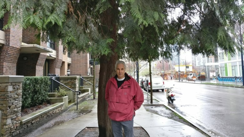 David Tracey with Downtown Vancouver's red-cedar
