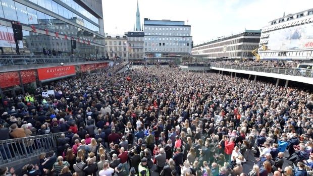 People gathered in Sergels Torg (square) in central Stockholm on Sunday for a 'Lovefest' vigil against terrorism following Friday's attack.