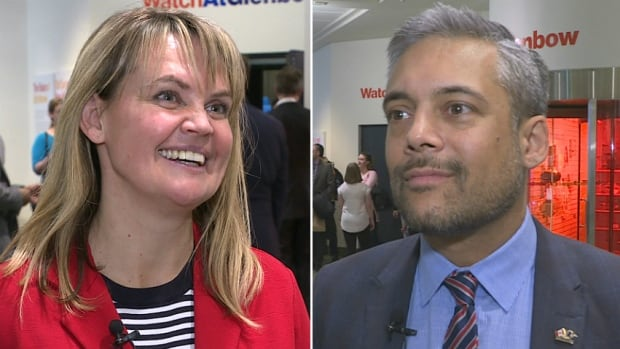Calgary-based lawyers Kerry Cundal, left, and David Khan, right, are vying for the leadership of the Alberta Liberal Party.