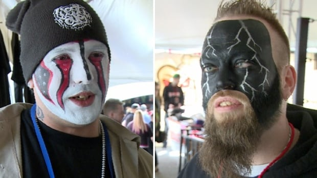 Juggalos Kevin Rempel, left, and Adam Harris, were among the thousands attending the first ever Juggalo Weekend held in Canada over the weekend.