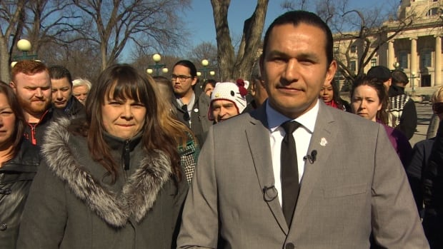 Wab Kinew announces his bid for the leadership of the Manitoba NDP alongside wife Lisa Monkman on Monday.