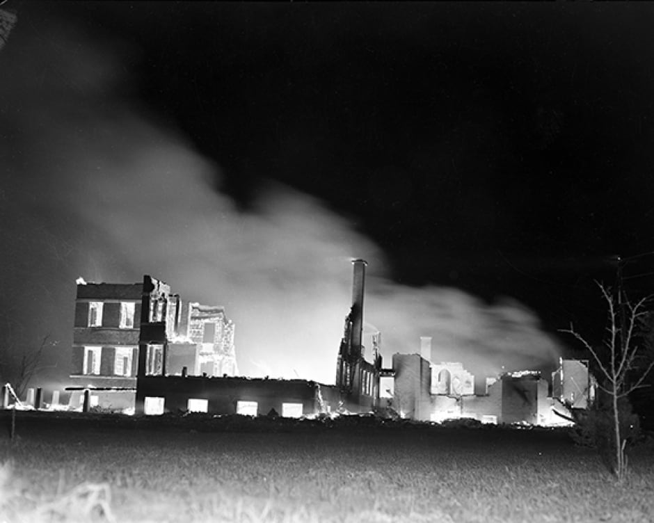 Villa St. Louis Convent on fire after CF-100 military jet crash in Orlean May 15,1956