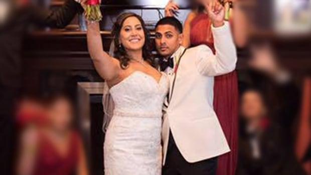 Arianna Goberdhan and Nicholas Baig in a wedding photo in November 2016.