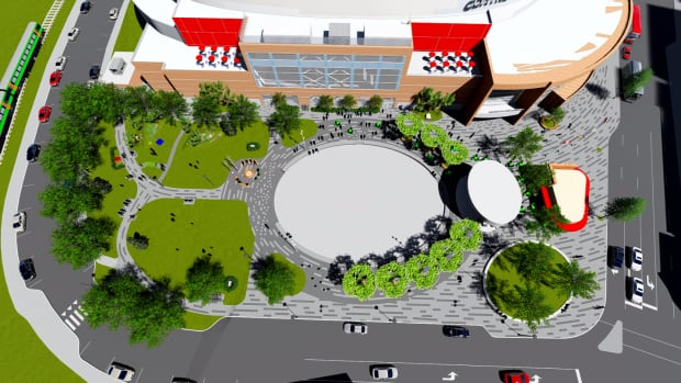 A mock-up of Moncton's new $4.3 million downtown centre, which will feature a $200,000 piece of public art.