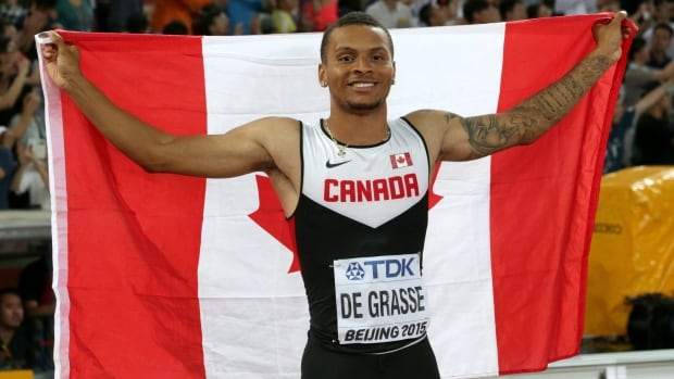 Canada's Andre De Grasse, pictured above at the world athletics championships in 2015, will represent Canada again at the worlds relays in April.
