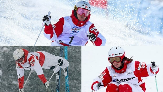 Moguls skiers Mikael Kingsbury, top, was provisionally named to the Canadian moguls team Tuesday along with 2014 Olympic women's champion Justine Dufour-Lapointe, left, and Andi Naude, right.