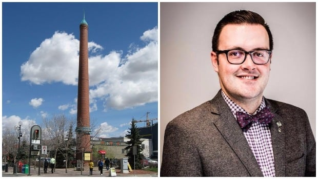 Josh Traptow, executive director of the Calgary Heritage Authority, worries about the precedent that would be set by rescinding the municipal historical resource designation of the Eau Claire smokestack.