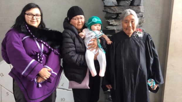 Elisapee Weetaluktuk with her daughter Leena Weetaluktuk, granddaughter Leona Weetaluktuk and great-granddaughter Zanouba Weetaluktuk.