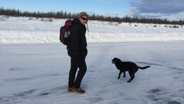 Peter Clarkson prepares to set out on his journey across the Inuvik to Tuktoyaktuk ice road. The only participant confirmed to go with him the entire way? His 'trusty dog, Jane Doe.'