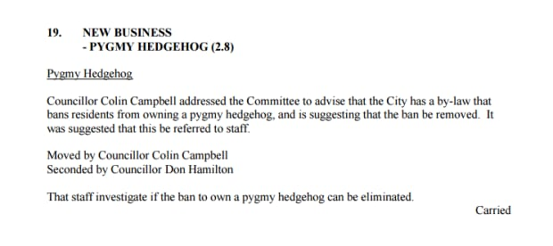 Markham hedgehog council