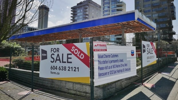This Chevron gas station at Georgia Street and Bidwell Street in Vancouver closed in May after it was sold to a developer.