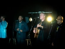 Canadian band 54-40 with Ali Hassan in the q studio in Toronto, Ont.