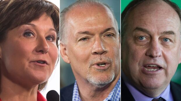 From left: B.C. Liberals Leader Christy Clark, B.C. NDP Leader John Horgan and B.C. Green Party Leader Andrew Weaver.