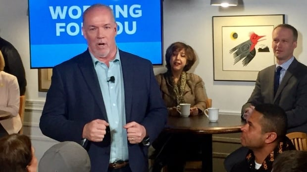B.C. NDP leader John Horgan unveiled his party's full platform at an event held at an Italian restaurant in Coquitlam Thursday.