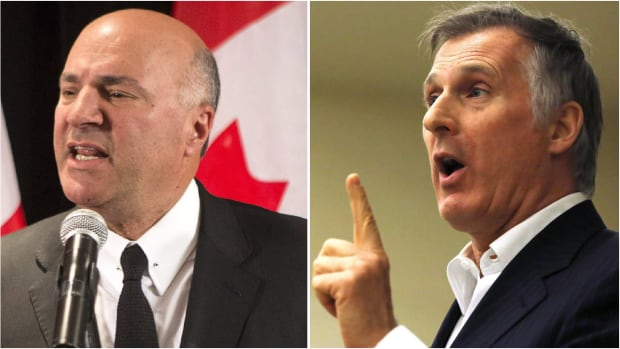 Kevin O'Leary, left, is dropping out of the Conservative leadership race and will back Maxime Bernier instead.