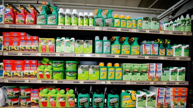 Weed killers on display at a garden shop in France. Government and scientific agencies in Canada, the U.S. and Europe consider glyphosate safe for humans at certain levels, but many scientists and environmentalists are skeptical. CFIA research on 3,188 foods found 1.3 per cent contained residues of the herbicide that are above the acceptable level.