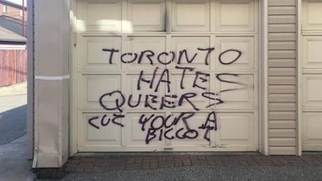 Garage door homophobic grafitti